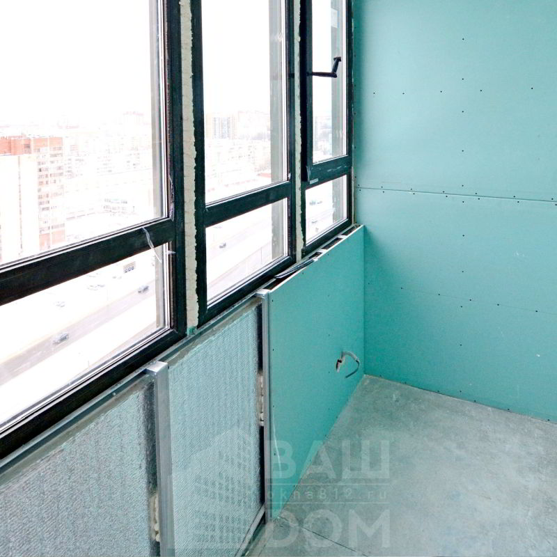 5. Монтаж листов гипсокартона на балконе